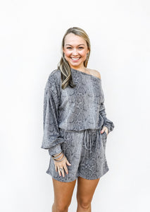 Slouchy Shoulder Long Sleeve Romper - Gabrielle's Biloxi