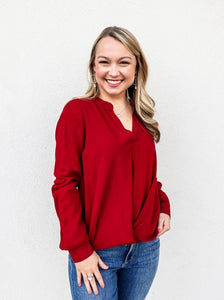 Bobi Long Sleeve Slit Neck Top Red