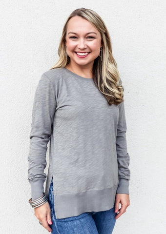 Bobi Long Sleeve Round Neck Top in Overcast
