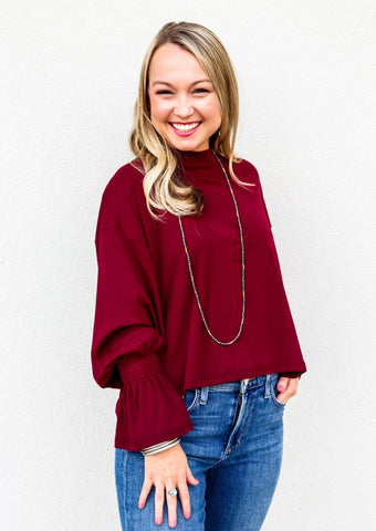 Smocked Bell Sleeve Top Wine - Gabrielle's Biloxi