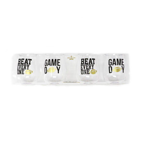 Gameday To Go Wine Glasses Set of 4 Black/Gold - Gabrielle's Biloxi