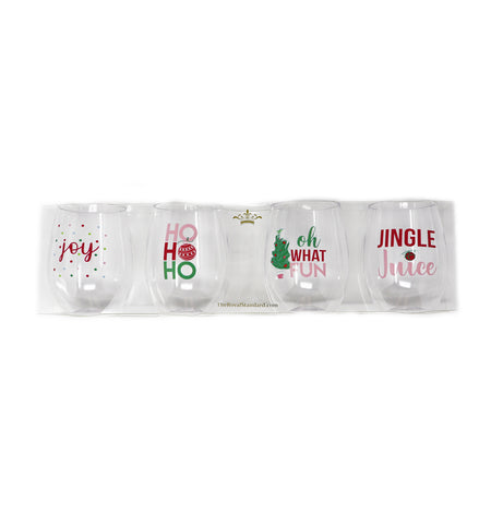 Oh What Fun To Go Wine Glasses Set of 4 Pink/Red/Green - Gabrielle's Biloxi