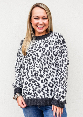 Long Sleeve Leopard Sweater Charcoal / White - Gabrielle's Biloxi