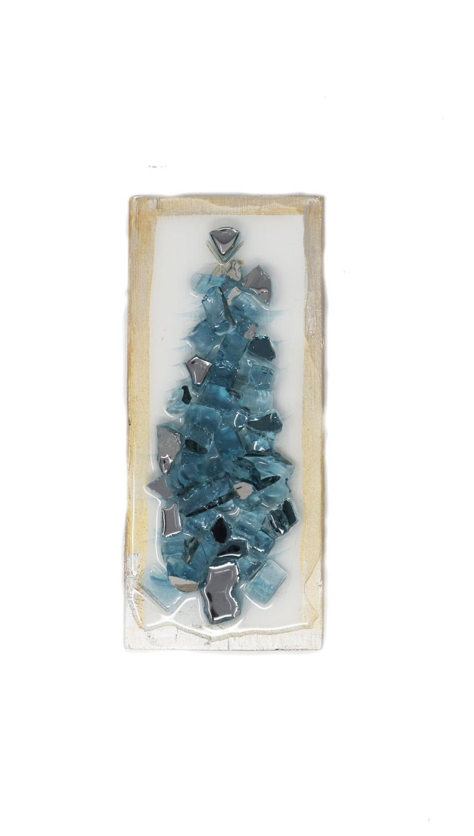 Glass Tree Wood Block Blue - Gabrielle's Biloxi