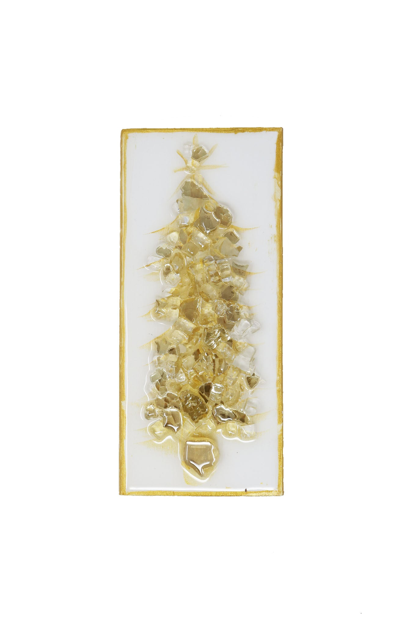 Glass Tree Wood Block Gold - Gabrielle's Biloxi