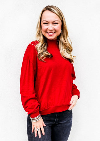 Bobi Mock Neck Red Crop Pullover - Gabrielle's Biloxi