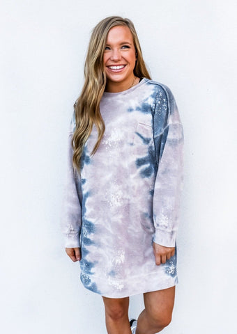 Galaxy Tie Dye Mock Neck Dress
