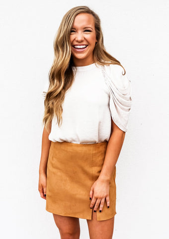 Suede Leather Mini Pencil Skirt Cashew