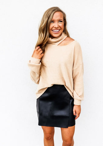 Faux Leather Wrap Skirt Black - Gabrielle's Biloxi