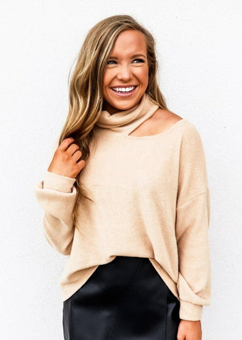 Brushed Cut Out Turtleneck Top Camel