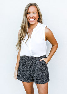 Herringbone Tweed Shorts Black - Gabrielle's Biloxi