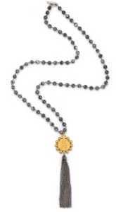 French Kande Matisse Jasper with Silver Wire, Crowing Mary Medallion and Tassel - Gabrielle's Biloxi