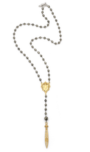 French Kande Faceted Pyrite, Gold Heart FOB and Swarovski Pointu Pendant - Gabrielle's Biloxi