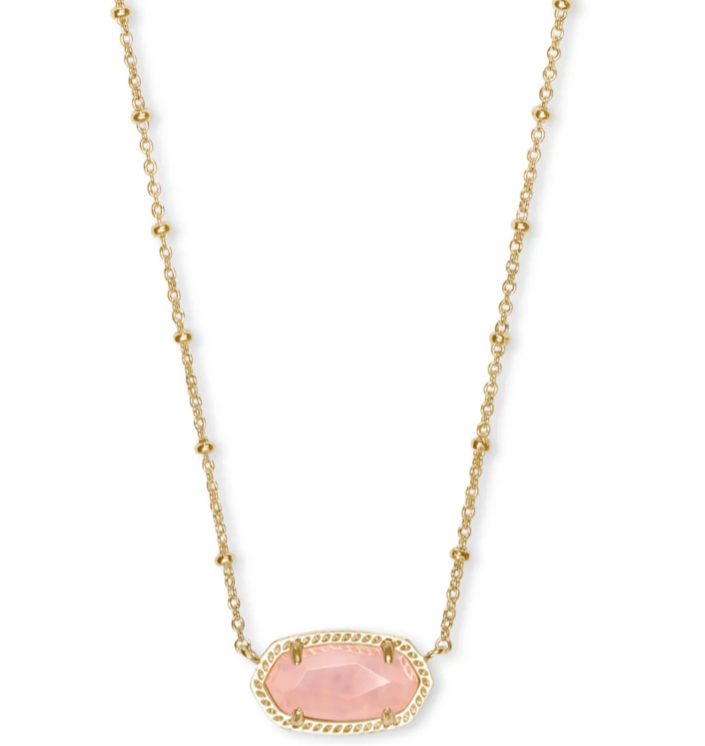 Kendra Scott Elisa Satellite Necklace Gold Rose Quartz