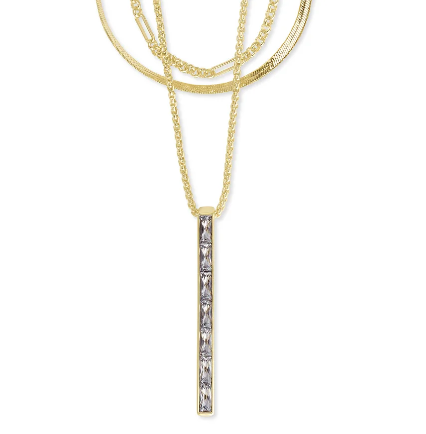 Kendra Scott Jack Multi Strand Necklace  Gold White Crystal - Gabrielle's Biloxi