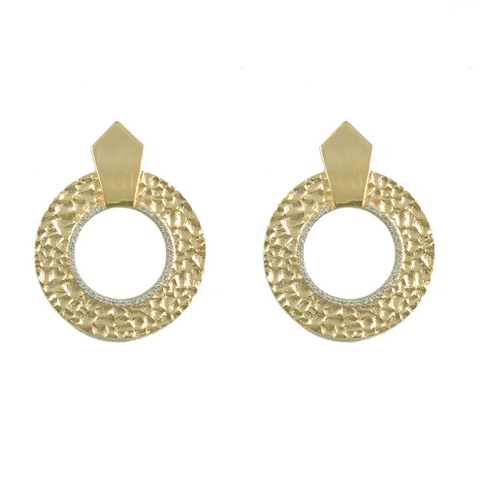 TAT2 Gold Hammered Circular Shield Earrings - Gabrielle's Biloxi