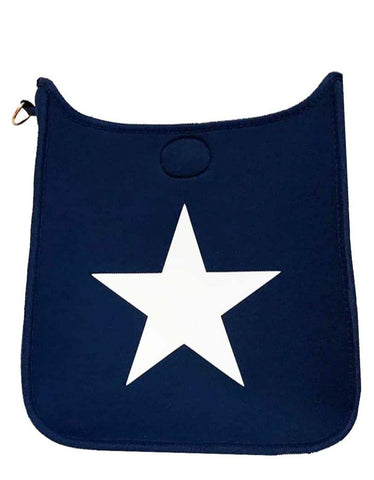 Navy Neoprene Messenger w/White Star - No Strap - Gabrielle's Biloxi