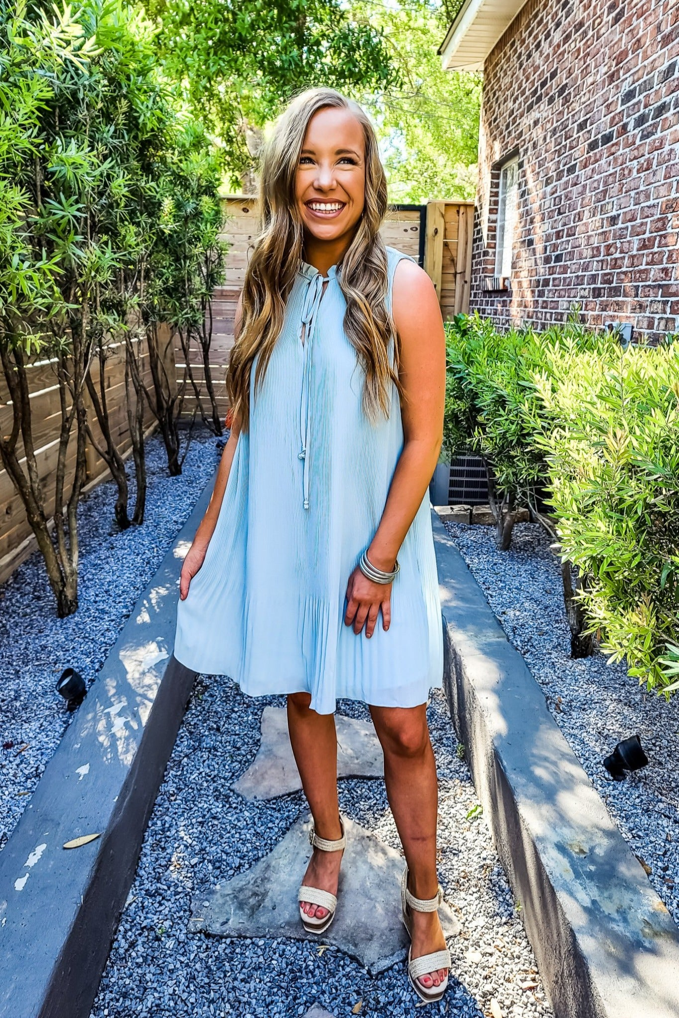 Sky Blue Pleated Mini Dress - Gabrielle's Biloxi