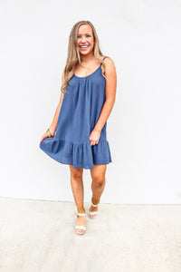 Soft Cotton Navy Beach Dress - Gabrielle's Biloxi
