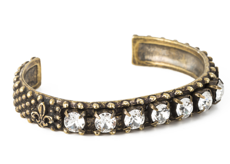 French Kande Antiqued Brass Bangle with Swarovski Crystals - Gabrielle's Biloxi