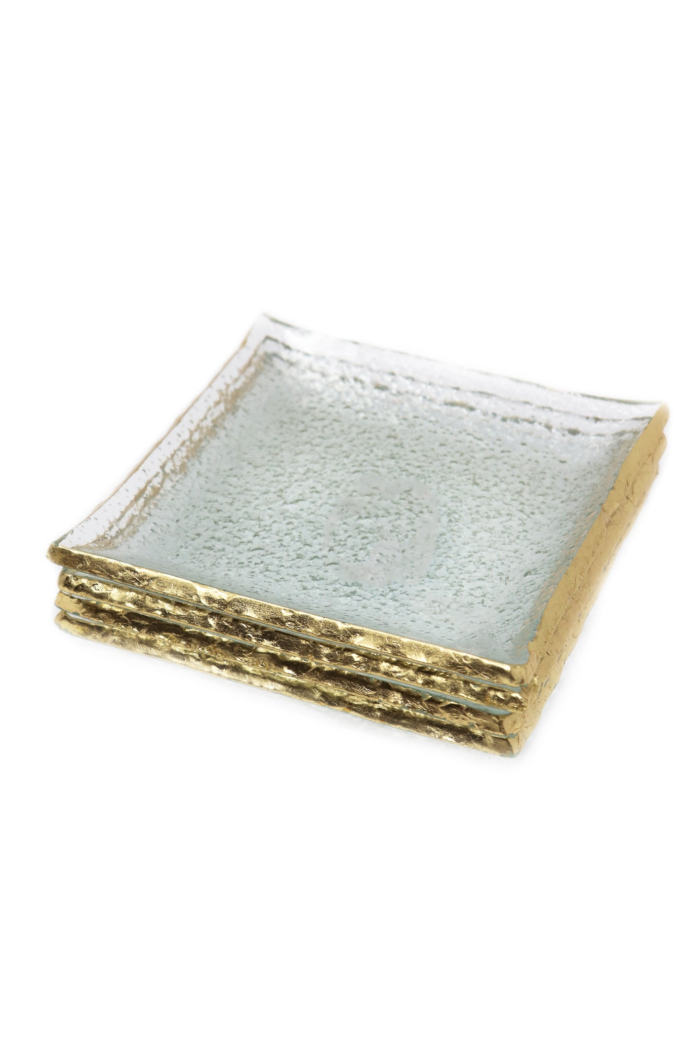 "Goldedge Handcrafted Crystal 5"" Square Plate Set - Gabrielle's Biloxi"