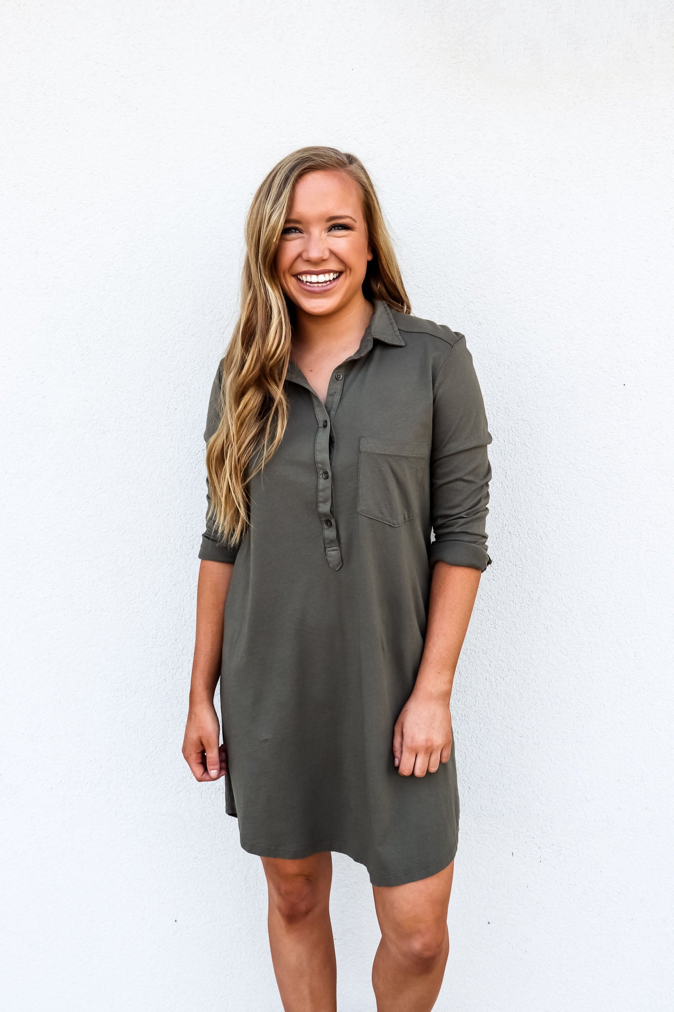 Bobi Long Sleeve Shirt Dress - Gabrielle's Biloxi