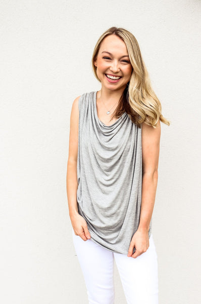 Bobi Grey Cowl Neck Top - Gabrielle's Biloxi