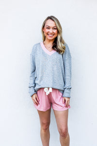 Somerset Grey V-Neck Terry Pullover - Gabrielle's Biloxi