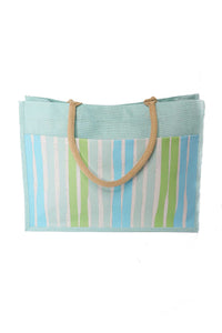 Striped Jute Pocket Tote in Turquoise/Pastel Green - Gabrielle's Biloxi