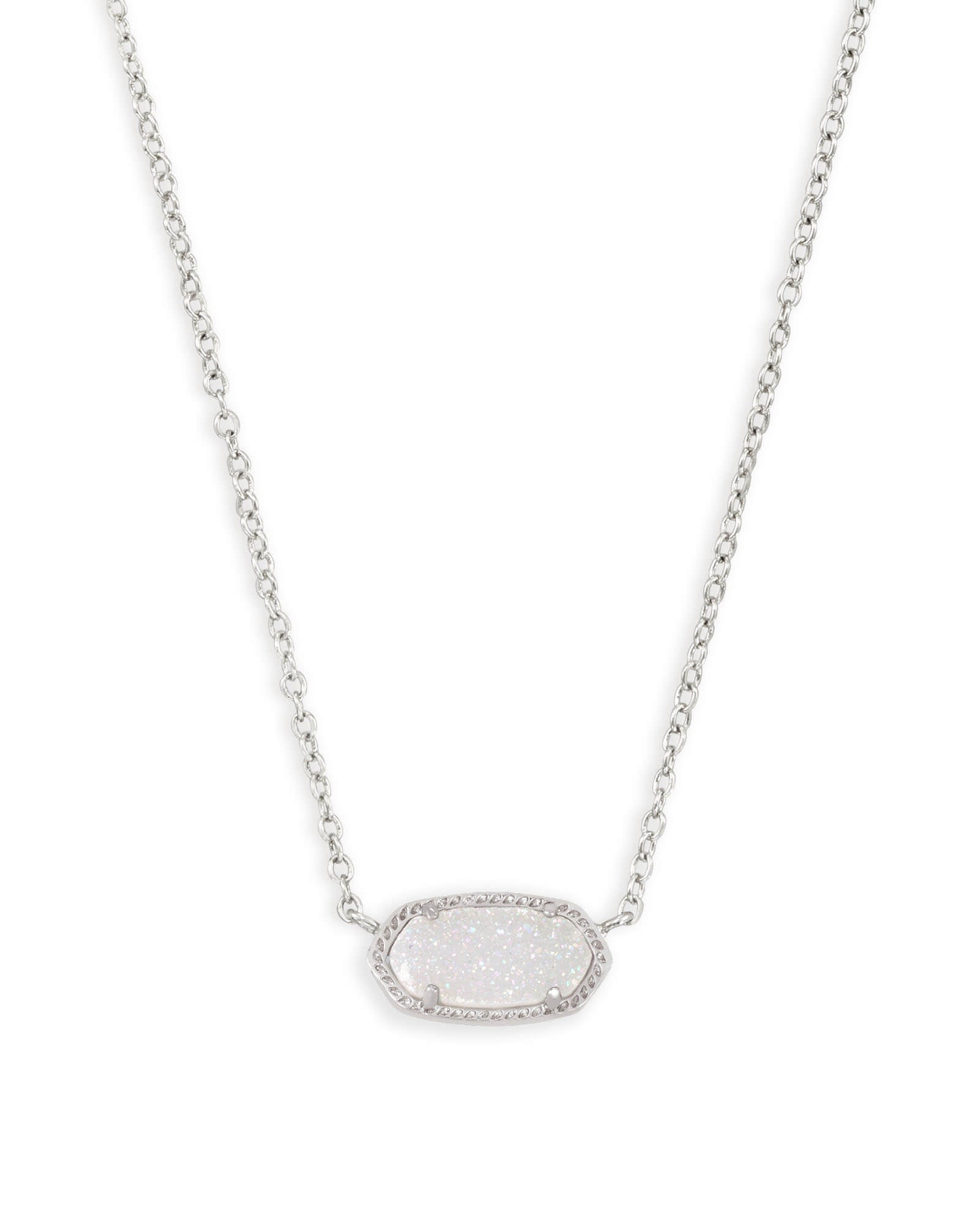 Kendra Scott Elisa Necklace Rhodium in Iridescent Drusy - Gabrielle's Biloxi