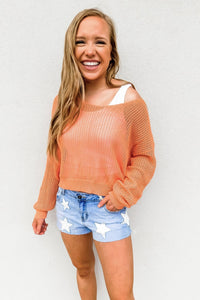 Open Knit Tangerine Summer Sweater - Gabrielle's Biloxi