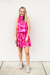 Tropical Printed Halter Neck Dress - Gabrielle's Biloxi
