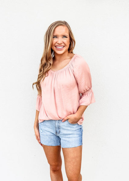 Pink Boho Off Shoulder Top - Gabrielle's Biloxi