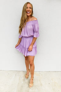 Off Shoulder Lavender Smocked Dress - Gabrielle's Biloxi