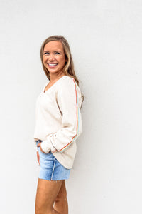 Rainbow Striped V-Neck Pullover - Gabrielle's Biloxi