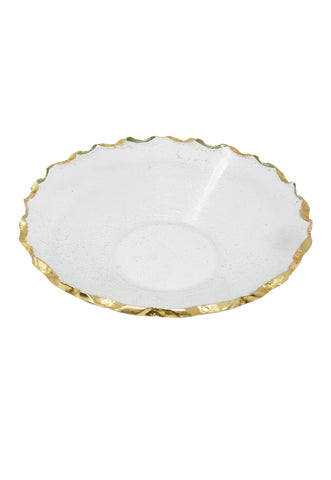 "Goldedge Handcrafted Crystal 11"" Round Bowl - Gabrielle's Biloxi"