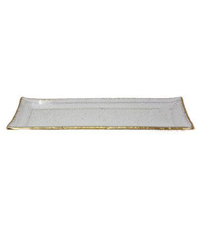 Metallic-Edge Handcrafted and Blown Rectangle Crystal Serving Tray - Gabrielle's Biloxi