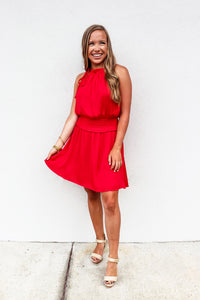 Red Smocked Waist Dress - Gabrielle's Biloxi