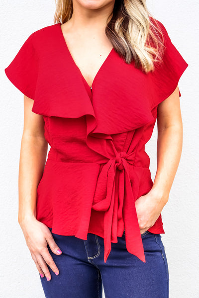 Women's Bold Red Ruffle Top - Gabrielle's Biloxi