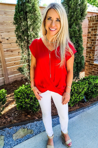Twisted Red Drop Shoulder Top - Gabrielle's Biloxi