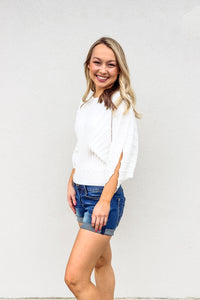 White Ribbed Sweater - Gabrielle's Biloxi