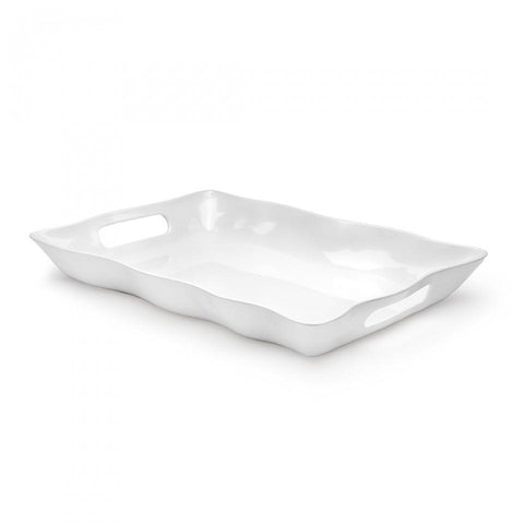 Ruffle White Melamine Small Rectangle Tray - Gabrielle's Biloxi