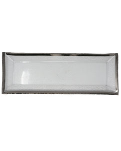 Metallic-Edge Handcrafted and Blown Rectangle Crystal Serving Tray Platinum - Gabrielle's Biloxi