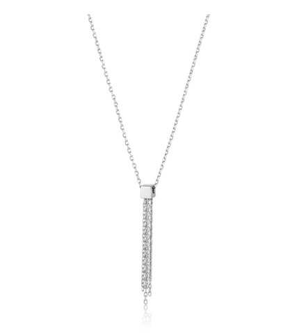 Silver Tassel Drop Necklace - Gabrielle's Biloxi