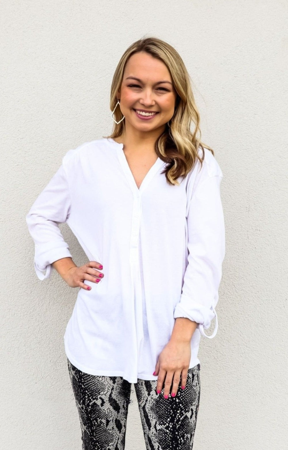 Bobi White Half Button-Up Top - Gabrielle's Biloxi