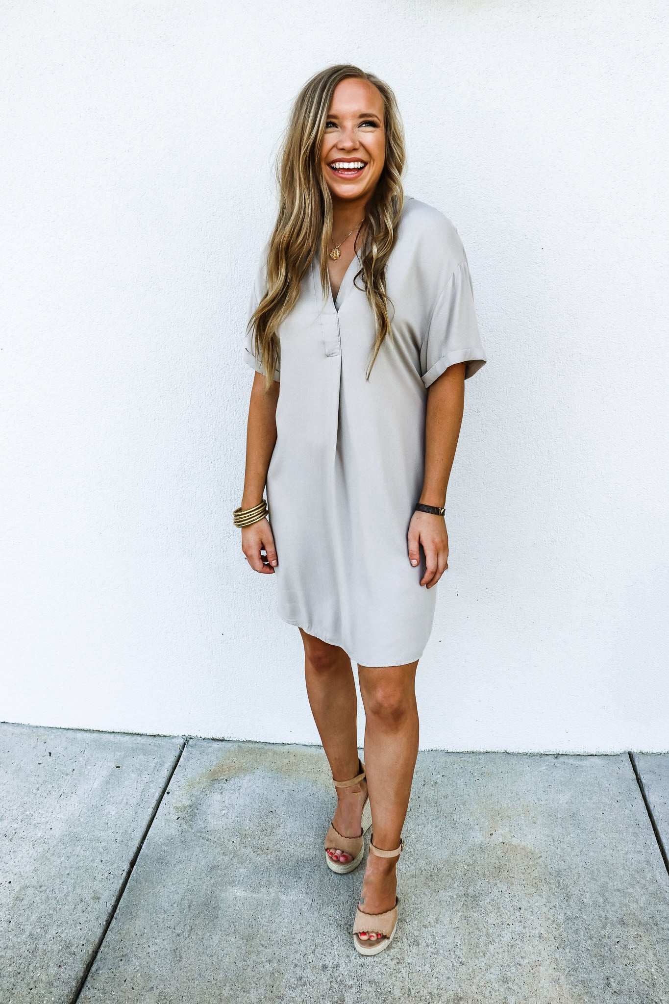 Bobi Taupe T Shirt Dress - Gabrielle's Biloxi