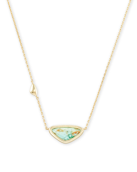 Kendra Scott Margot Short Pendant Necklace Gold Sea Green - Gabrielle's Biloxi