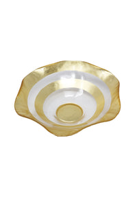 "Gold Leaf Wave Handcrafted 8"" Round Bowl - Gabrielle's Biloxi"