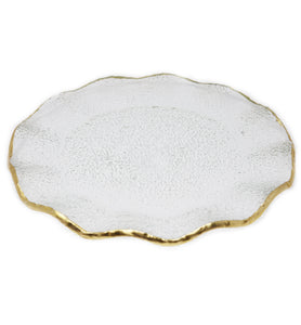 Goldedge Handcrafted Crystal Scalloped Platter - Gabrielle's Biloxi