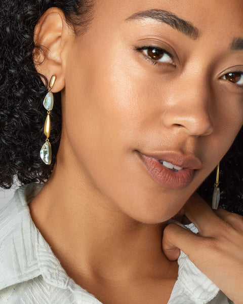 Kendra Scott Ivy Linear Earring Vintage Gold White Abalone - Gabrielle's Biloxi